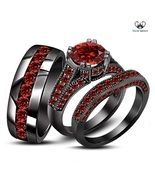925 Silver Men's Ladies Black Gold Fn Red Garnet Wedding Trio Ring Set Free Gift Description After Purchase Kindly Give Us Contact No. *Click here to View Our Other Products* Item Specification Style Trio Ring Set Metal 925 Silver Main S...
