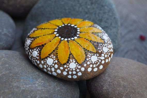 Painted River Stone Sunflower by ArtByEvaMarie on Etsy
