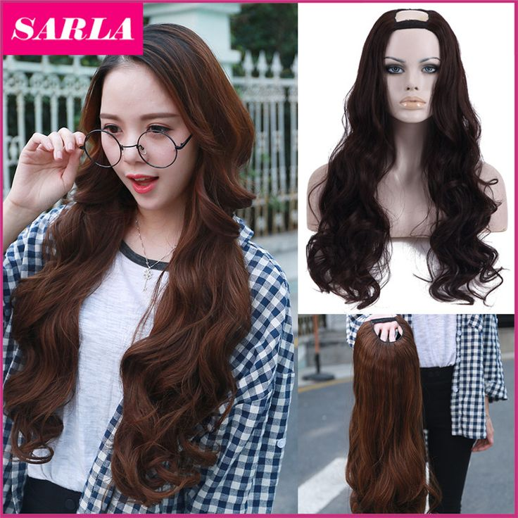 Xmas 1PC U Part Wig Synthetic Hair Wigs Natural Long Wavy Wig High Temperature Silk Sexy Wigs for Women 9colors available <3 Click the VISIT button to view the details