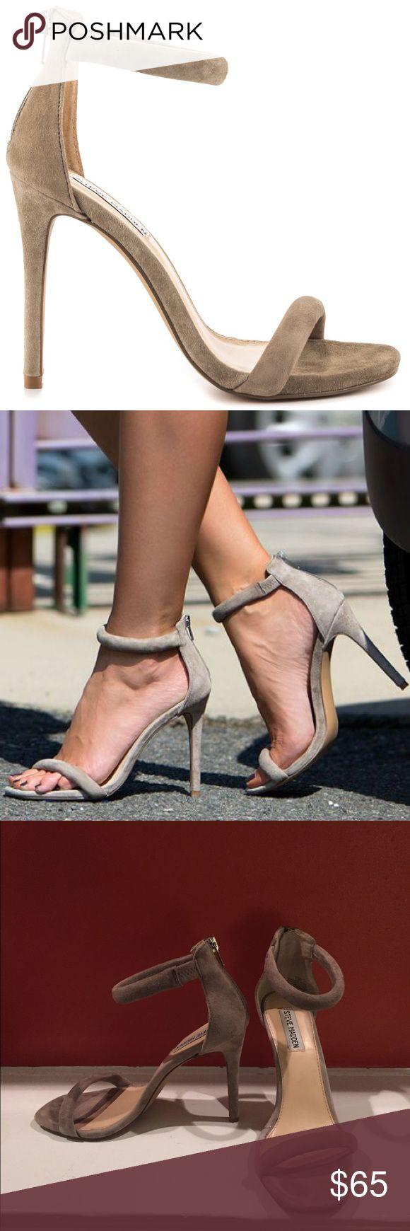 Steve Madden Fancci Suede Sandal Heels Taupe 8.5