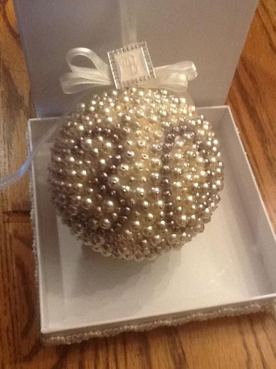 30th Anniversary Christmas Ornament 4 Styrofoam Ball Covered In Pearl Beads Pinned Glued