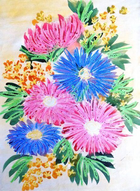 Урок рисования осенних цветов акварелью и восковыми мелками для детей 7-10 лет