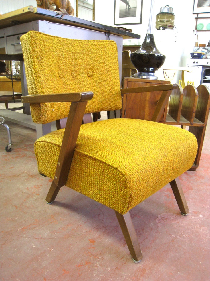 Mid Century Modern Tweed Rocking Chair. LOVE the tweed and the color!