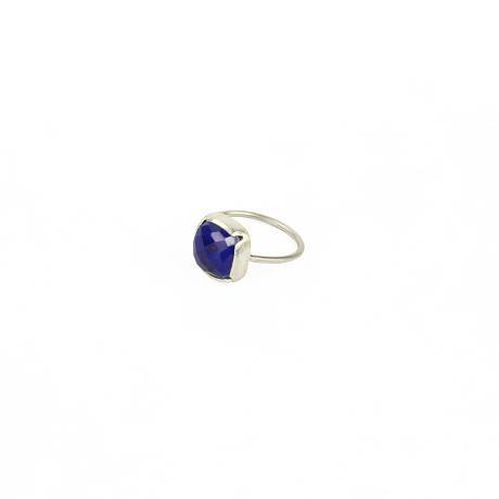 Muchi Galoosh Lapis Lazuli Square Ring – Silver from Ornamental Morocco