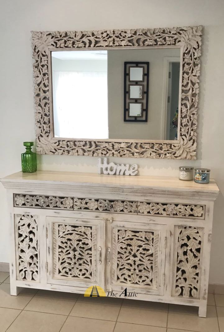 Make A Stunning Entryway With This Hand Carved Cabinet And Mirror  Combination #distressed #white
