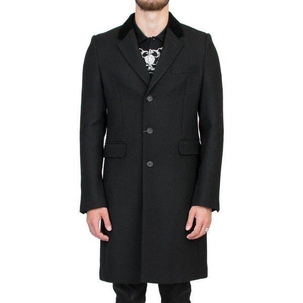 Alexander Mcqueen Wool Coat ($2,120) ❤ liked on Polyvore featuring men's fashion, men's clothing, men's outerwear, men's coats, nero, mens fur collar coat, alexander mcqueen mens coat, mens wool coats and mens wool outerwear