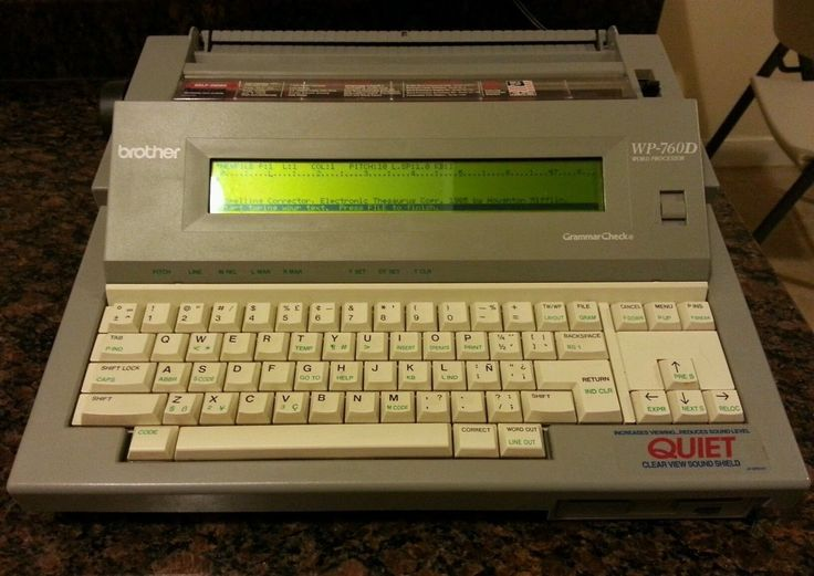 "Brother Model WP-760D Word Processor Gray Electronic Typewriter. 3.5"" Floppy Disk Drive. Triple Line Spacing - Single space, 1 ½ spacing, Double Line spacing. Built-In 70,000 word dictionary - Beeps when you misspell a word. 80 character x 7 line LCD screen - with 45° tilt for visual comfort. Search - allows you to search and/or replace text."