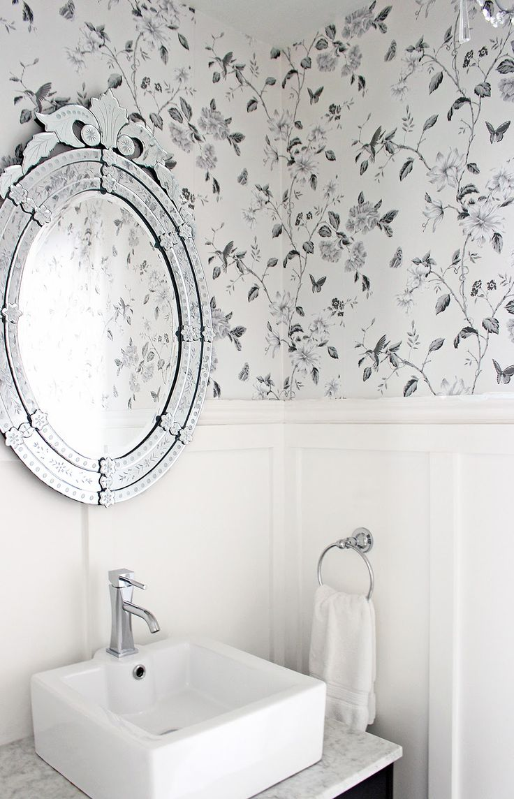 Bathroom wallpaper, Anthropologie Smoky Rose wallpaper, Charcoal grey floral wallpaper, wallpaper and wainscoting, Venetian mirror bathroom, Parisian bathroom
