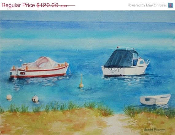 ON SALE On The Bay Boats Original Watercolour by NicoleBarrosArt, $96.00