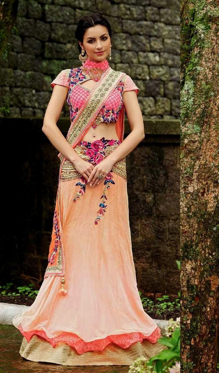 Soft Pink & Cream Net & Net Barsso & Raw Silk Blouse Heavy Embroidery Work & Hand Work Lehenga Saree