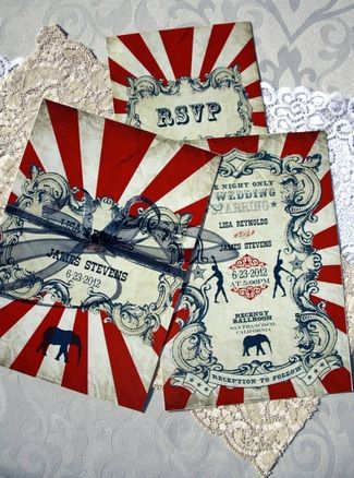 Vintage Carnival Wedding Invitation & Response Card] VintageWeddingPress via etsy
