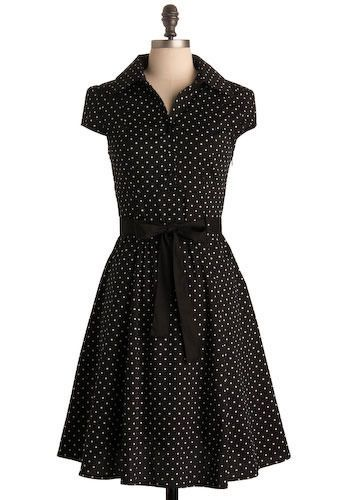Hepcat Dress in Black Licorice - I *need* to find a pattern for this dress. *love* #black #white #polkadot #bow #retro #vintage