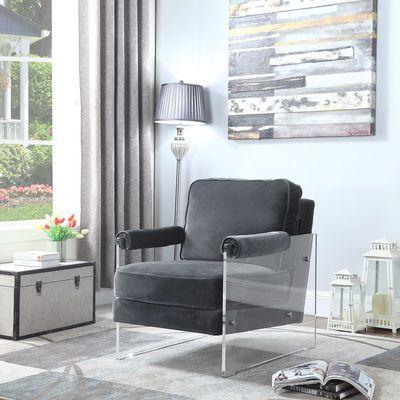 Emman Gray Velvet Acrylic Frame Chair  $999.95