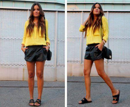 Yellow blouse + leather shorts + ugly sandals- więcej na stylizacje.pl