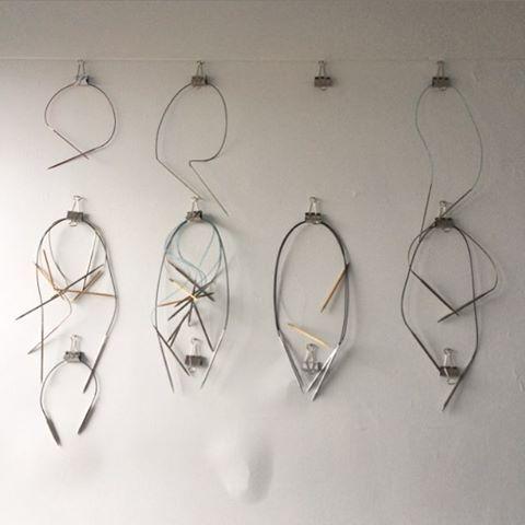 Bristol Ivy's circular knitting needle storage / organization, wall-mounted bull clips