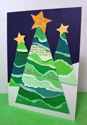 christmas card - torn cardstock trees - sweet! Would be cute to use Christmas sheet music also.