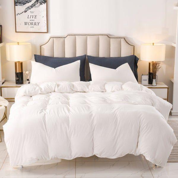 Pure Era Duvet Cover Set 100 Cotton Jersey Knit Bedding Luxurious Cozy Comfy Solid Off White King Queen Size With Zipper Closure Duvet Cover Sets Comforter Cover Bed Pillow Arrangement
