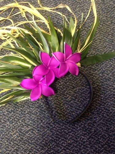 Ti Leaf and Nu Plumeria headband with raffia