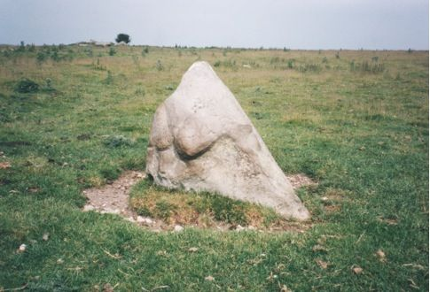 Standing stone, quasi-pyramidal, facing south in South Temple. Neolithic Wessex. Dr Terence Meaden.