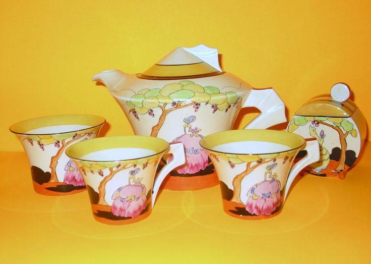 Clarice Cliff Bizarre Applique Idyll Daffodil Tea for Two 1932