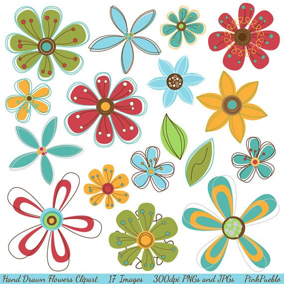 Hand Drawn Flowers Clipart Clip Art Retro Flowers by PinkPueblo