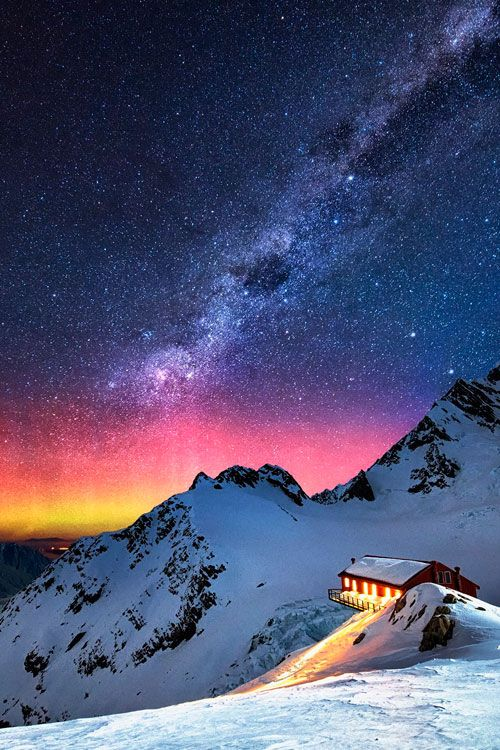 Galactic Dance | Aurora Australis and milky way over Mount Cook, South Island, New Zealand.