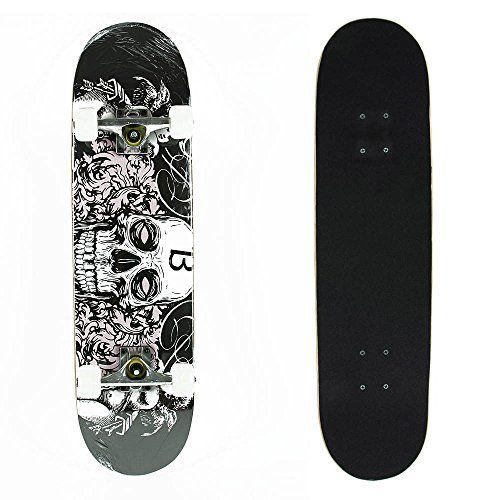 Senmi 7 Plies Maple Double Kick Concave Deck Cool Skull Grip Tape Skateboard for Primary/intermediate   Free Skateboard Bag