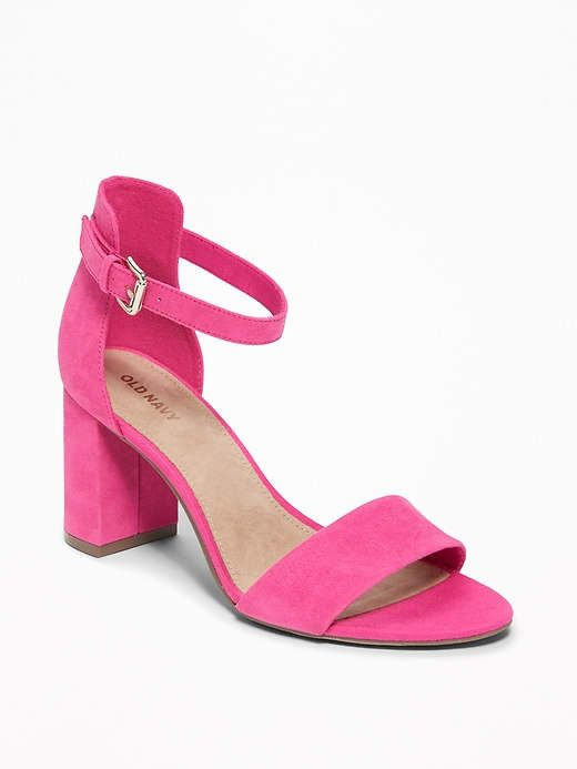 fd5c5980e3 Faux-Suede Block-Heel Sandals for Women in 2019 | shoes | Pink block ...