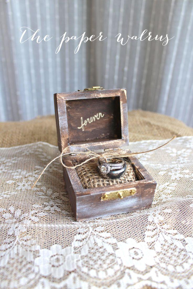 Burlap Rustic Ring Bearer Pillow Box  Rustic by ThePaperWalrus, $19.99