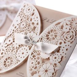 Online Shop White Flower Cut out With Ribbon Wedding Invitations (Set of 50) Printable and Customizable Free Shipping New|Aliexpress Mobile