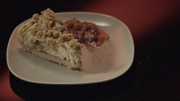 Apple Crumble Cheesecake with Stewed Rhubarb