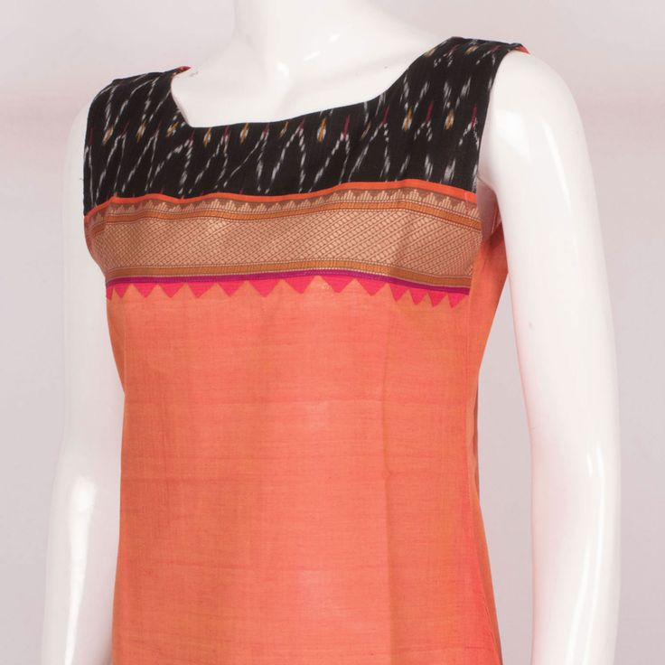 Buy online Hand Crafted Peach Sleeveless Cotton Kurta With Ikat Prints 10013628