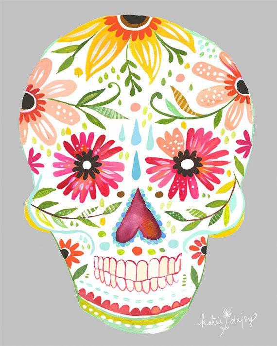 Sugar Skull      vertical print van thewheatfield op Etsy, $18.00