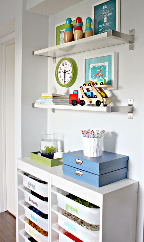 """Lego Storage using IKEA Trofast cabinets & bins and Ekby wall shelves 