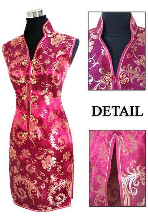 Sexy Black red Chinese tradition Ladies Cheongsam Qipao dress Wedding Mini Club Dress Size:S M L XL XXL XXXL
