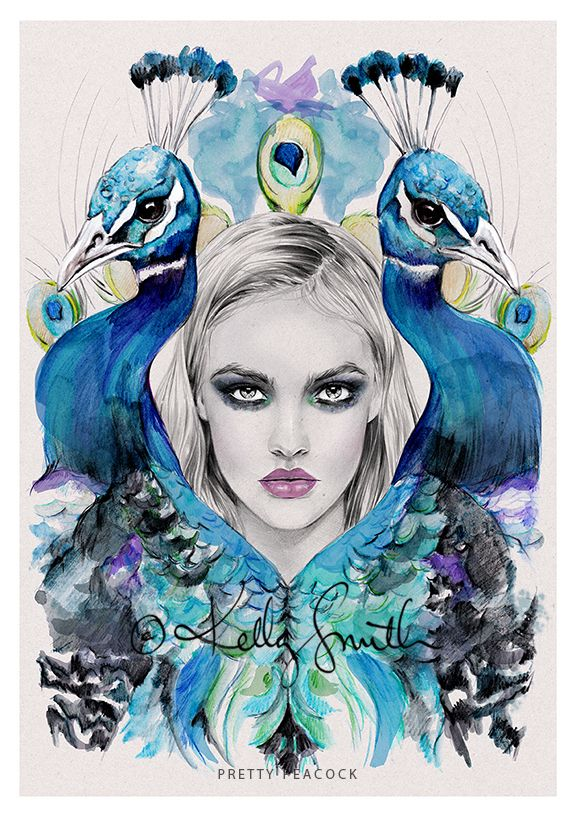 Pretty Peacock - LIMITED EDITION PRINT by Kelly Smith on birdyandme.bigcartel.com
