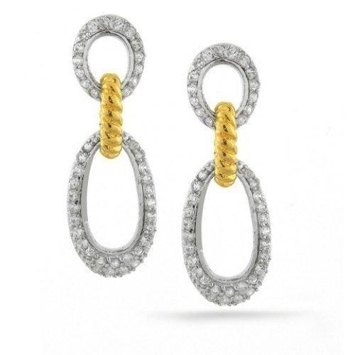 Bling Jewelry Two Tone CZ Pave Ellipse Dangle Earrings 925 Sterling Silver