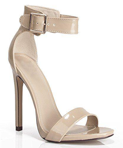 Women's Faux Patent Open Toe Ankle Strap Pumps DARK BEIGE (6) Room Of  Fashion