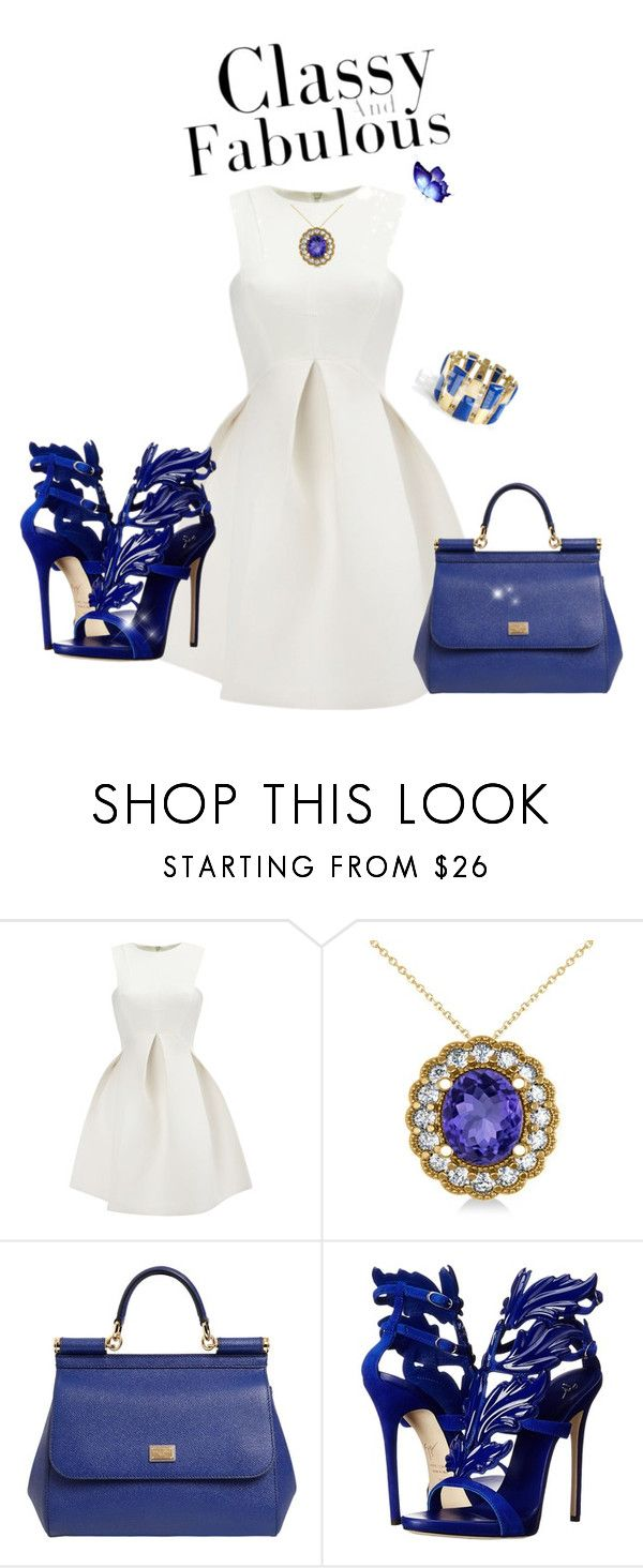 Classy and Fabulous in white , blue and gold by Diva of Cake  featuring mode, Giuseppe Zanotti, Dolce&Gabbana and Allurez