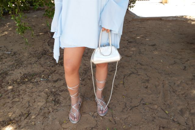 Silver Lace Up Sandals