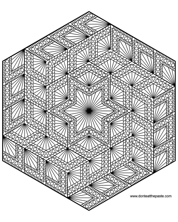 Diamond Hexagon Geometric Mandala To Color Also Available