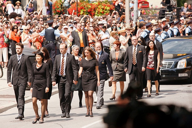 The cortege, with Olivia Chow and family members, arrives for the State Funeral of The Honourable Jack