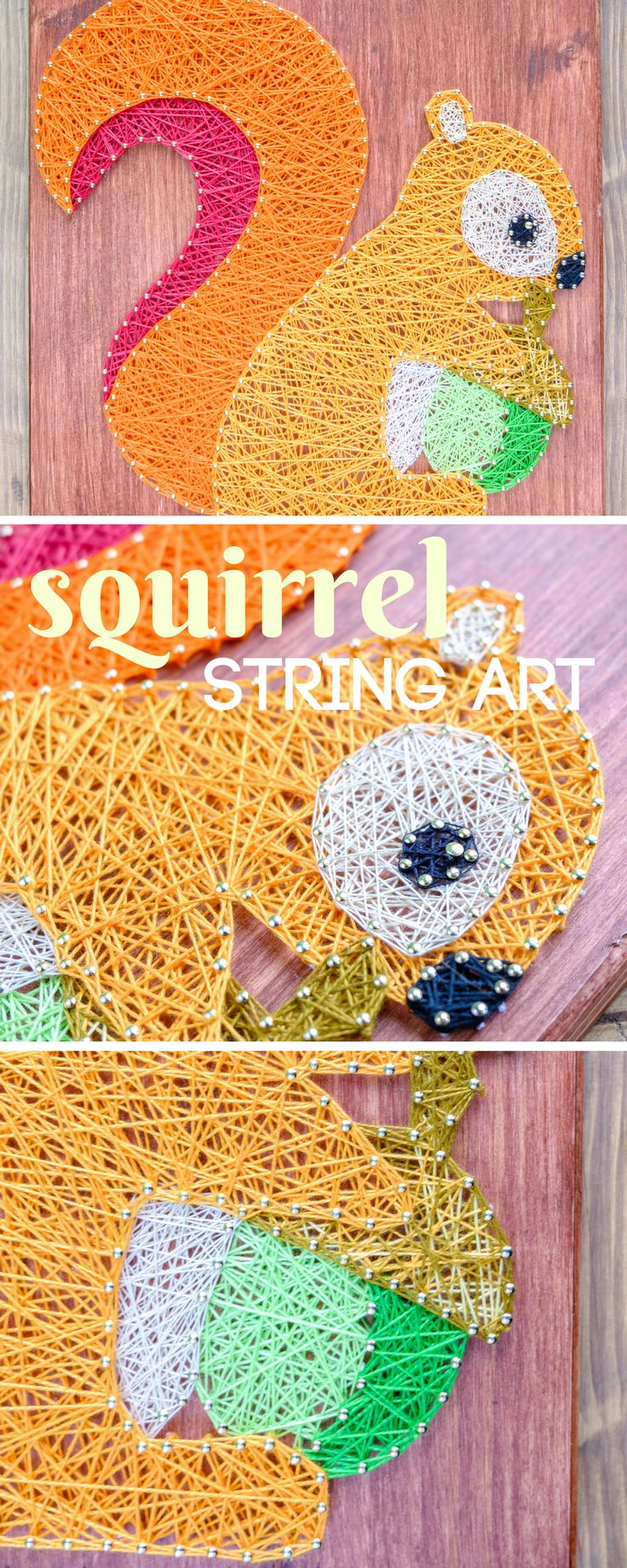 Cute and handmade forest themed nursery or kids room wall decor. Squirrel string art decor for your home.