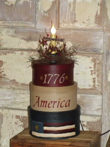 """1776 America"" Round Stacking Boxes With Light"