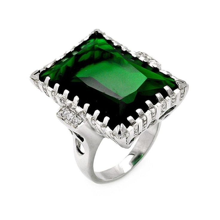 925 Sterling Silver Large Rectangle Green Created Emerald CZ Ring Measurement: 2