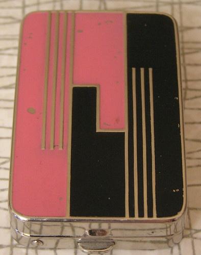 VINTAGE Du Barry RICHARD HUDNUT Art Deco PINK & Black VANITY COMPACT - Rare
