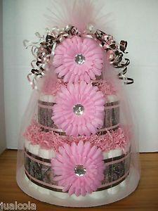 diaper cake baby shower center pirces | ... cakes | GIRL-PINK-CAMO-HUNTING-DIAPER-CAKE-BABY-SHOWER-CENTERPIECE