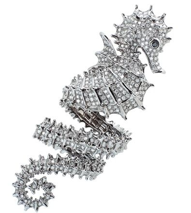 'Hippocampe' ring in white gold and diamonds, Elise Dray