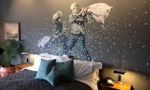 A pillow fight mural from Banksy's new hotel in Bethlehem.