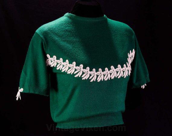 Taglia 8 maglione verde - formidabile 1950s stile Pin-Up Jumper - bianco dolce archi - Pullover manica corta - 50s Pin Up - ragazza di maglione - 45882